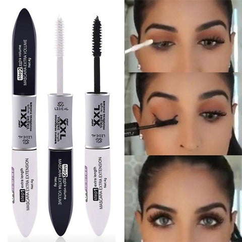 2 IN 1 4D Silk Fiber Lash Mascara Black Mascara Waterproof Silk Fiber Volume Double Lengthening Curling Eye Mascara de cilios