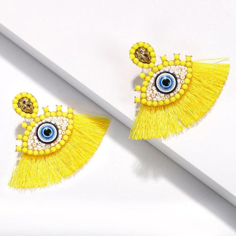Best lady Bohemian Beaded Eyes Tassel Earrings for Women Unique Design Wedding Jewelry Handmade Colorful Fringed Drop Earrings