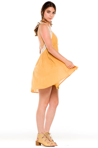 (ald) Crochet trimming low back flare dress -mustard-