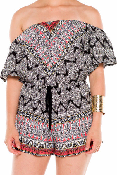 (ald) Off shoulder printed romper -Black- - L.A. Roxx - 5