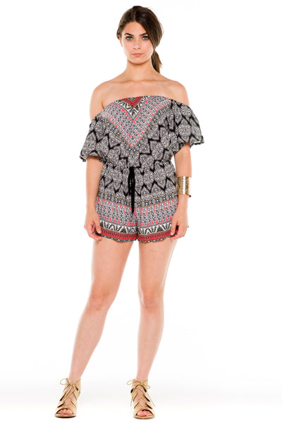 (ald) Off shoulder printed romper -Black- - L.A. Roxx - 1