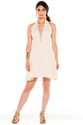 (ald) Halter low back short flare dress -Beige-