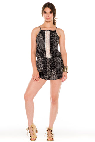 (ald) Crochet detail flower and dots print romper -Black-