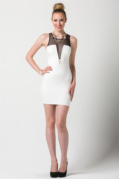 (ane) Mesh accent plunge ivory dress
