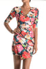 (ang) Floral asymmetrical plunge dress - L.A. Roxx - 4