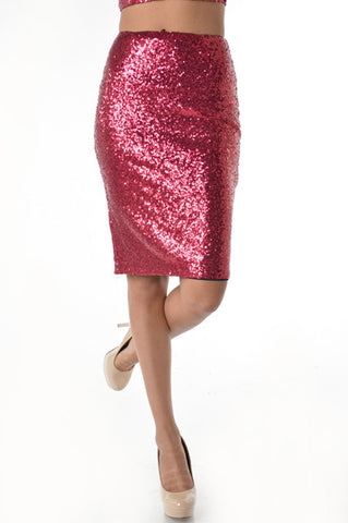 (anb) Red sequins stretch sexy knee length skirt