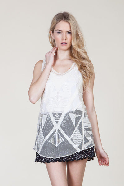 (ami) Geometric embroidered sheer ivory cami - L.A. Roxx - 1