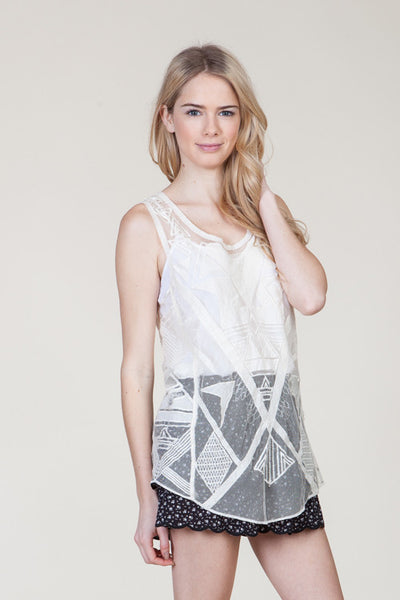 (ami) Geometric embroidered sheer ivory cami - L.A. Roxx - 3