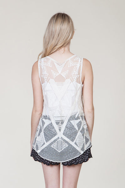 (ami) Geometric embroidered sheer ivory cami - L.A. Roxx - 4