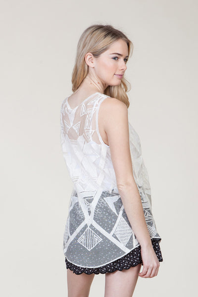 (ami) Geometric embroidered sheer ivory cami - L.A. Roxx - 2