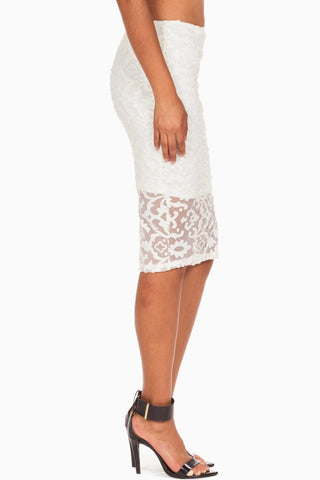 (anh) Floral laser cut stiletto ivory skirt