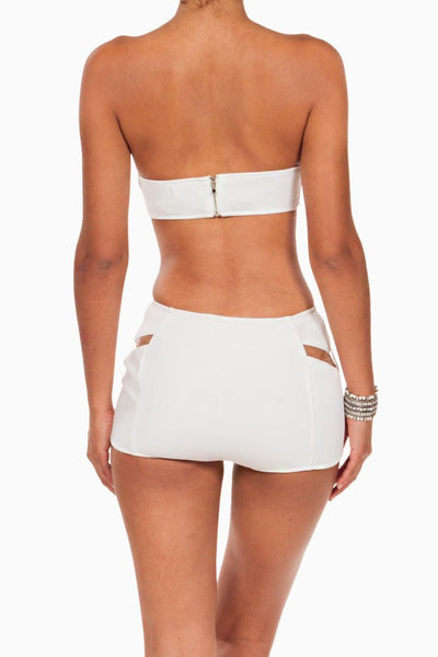 (ang) High Waist Futuristic Cut Out ivory mini shorts - L.A. Roxx - 4