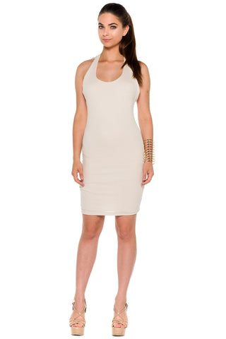 (alc) Crochet detail ribbed silhouette short dress -Beige-
