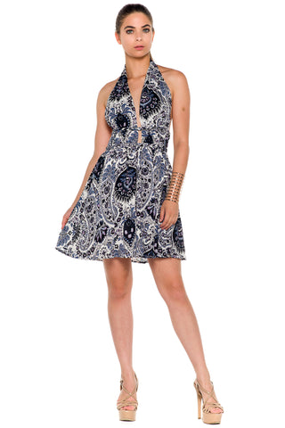 (alc) Floral print halter flare dress