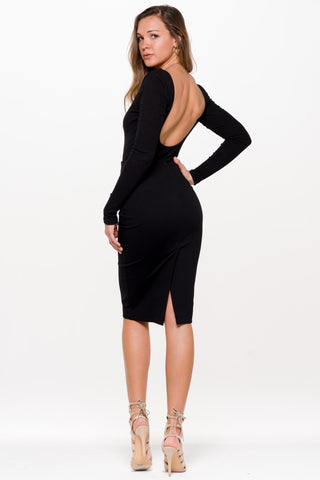 (aln) Low back ribbed black bodysuit