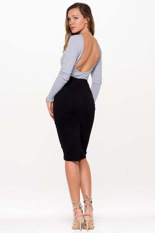 (aln) Low back ribbed gray bodysuit