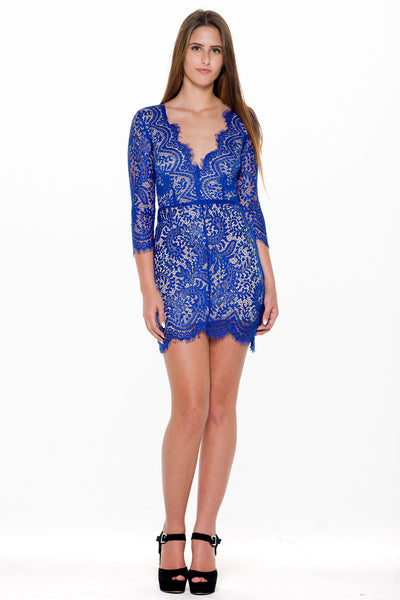 (alm) Lace plunging 3/4 sleeves royal blue dress - L.A. Roxx - 1