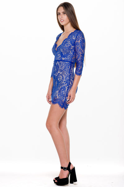 (alm) Lace plunging 3/4 sleeves royal blue dress - L.A. Roxx - 3