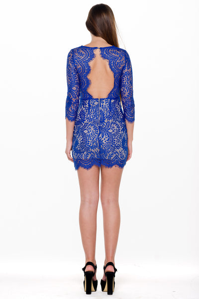 (alm) Lace plunging 3/4 sleeves royal blue dress - L.A. Roxx - 2