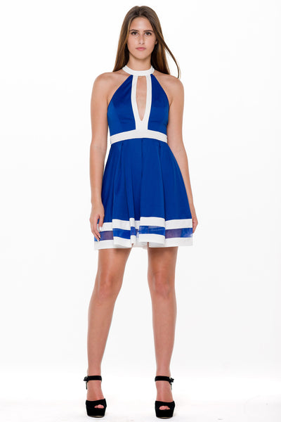 (alm) Color block flare royal blue dress - L.A. Roxx - 1
