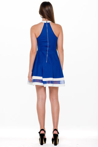 (alm) Color block flare royal blue dress
