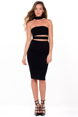 (ali) Bandage cut-out knit black dress
