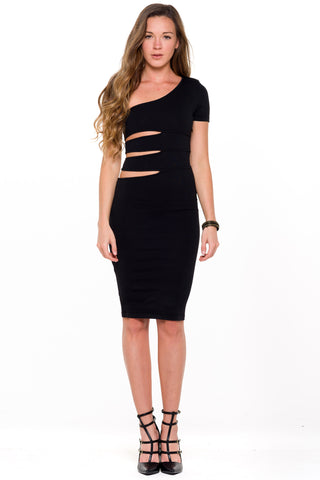 (ali) One shoulder knit cutout black dress