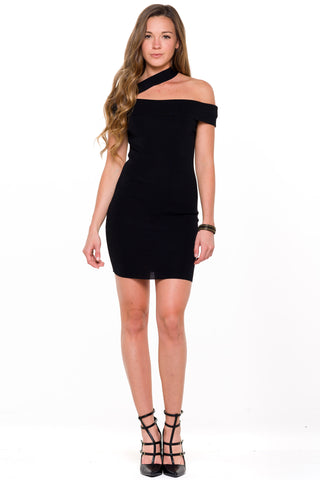 (ali) One shoulder strap knit black dress
