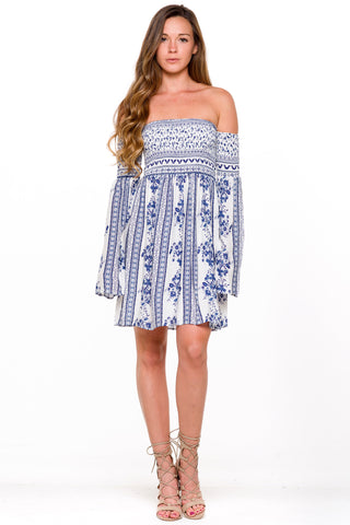 (ali) Gathered off shoulder floral print dress