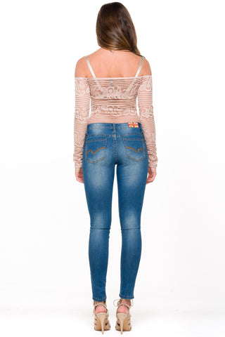 (alm) Lacey off-the-shoulder blush bodysuit