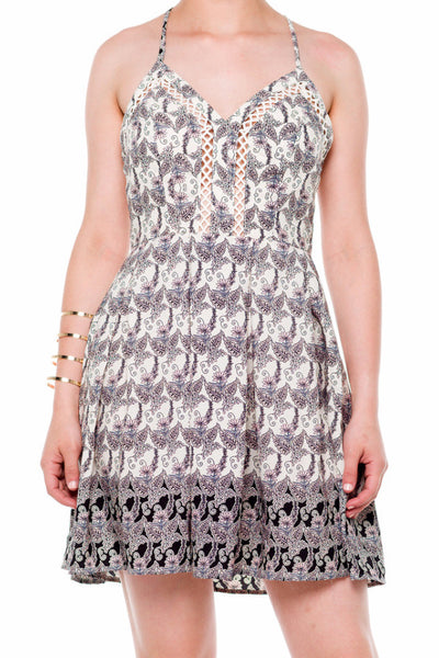 (alf) Floral print fit & flare short ivory dress - L.A. Roxx - 5