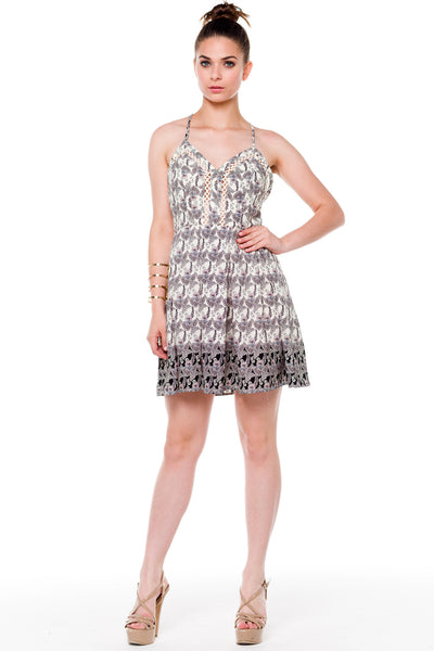 (alf) Floral print fit & flare short ivory dress - L.A. Roxx - 4