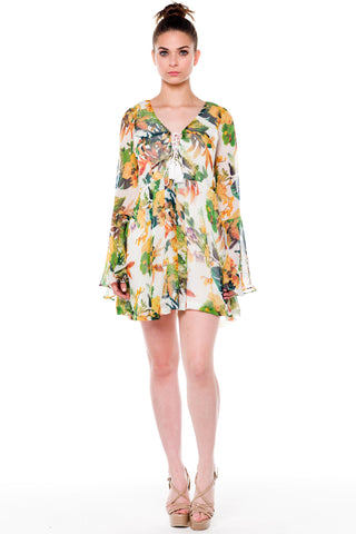 (alf) Floral laced-up bell sleeves dress