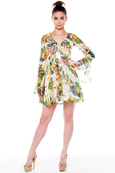 (alf) Floral laced-up bell sleeves dress - L.A. Roxx - 4