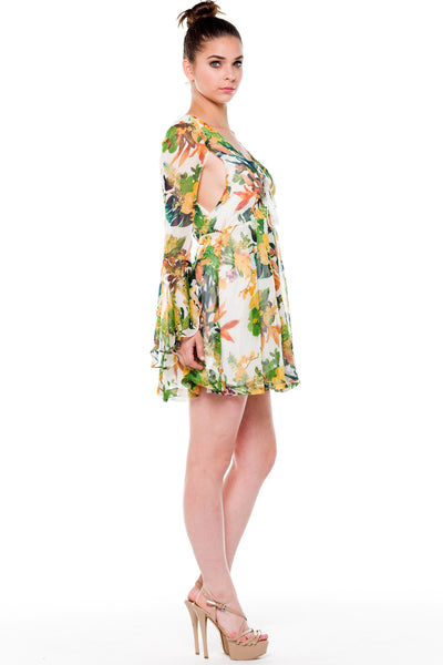 (alf) Floral laced-up bell sleeves dress - L.A. Roxx - 2
