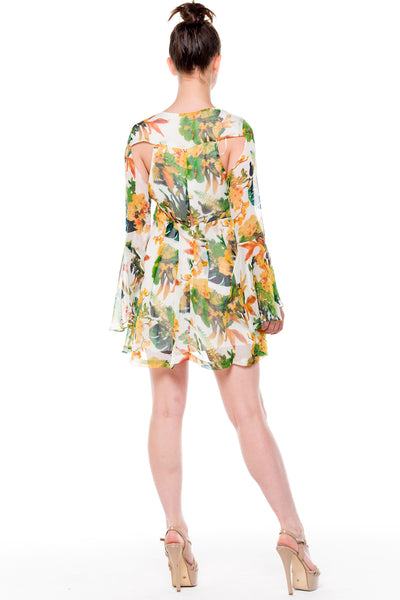 (alf) Floral laced-up bell sleeves dress - L.A. Roxx - 3