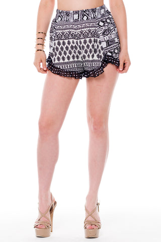 (alf) Printed polka dots ruffle black shorts