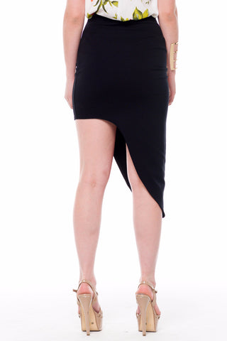 (alf) Asymmetrical hem fitted mini black skirt