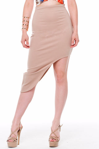 (alf) Asymmetrical hem fitted mini beige skirt