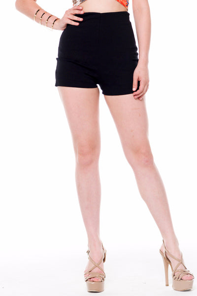 (alf) High waist fitted black shorts - L.A. Roxx - 1