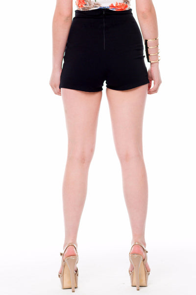 (alf) High waist fitted black shorts - L.A. Roxx - 2