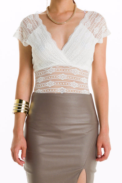 (alh) Sheer lace sleeveless white bodysuit - L.A. Roxx - 5