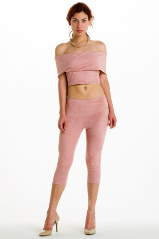 (alh) Off shoulder blush pants set