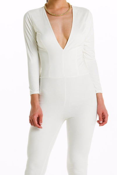 (alh) Plunge 3/4 sleeves white jumpsuit - L.A. Roxx - 5