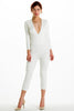 (alh) Plunge 3/4 sleeves white jumpsuit - L.A. Roxx - 1