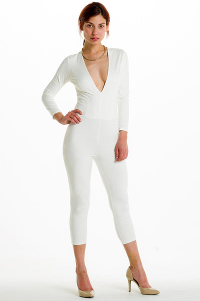 (alh) Plunge 3/4 sleeves white jumpsuit - L.A. Roxx - 4