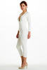 (alh) Plunge 3/4 sleeves white jumpsuit - L.A. Roxx - 2