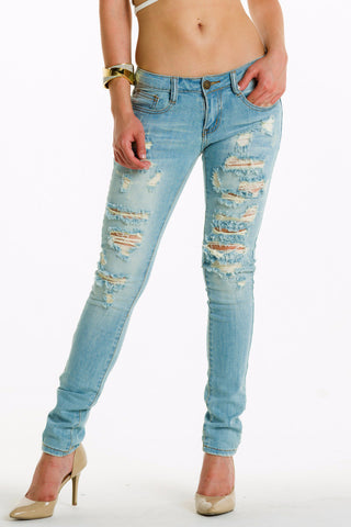 (alh) Machine brand light wash distressed jeans