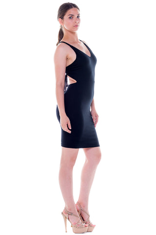 (ale) Open strappy back short black dress