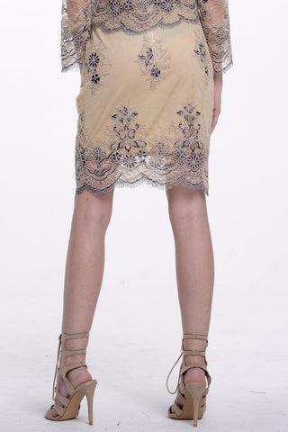 (alp) Embroidery on mesh knee length blue skirt